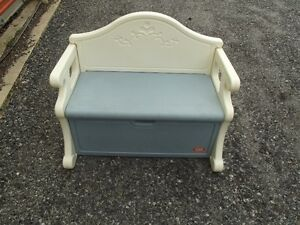 Blue/White Bench Toy Box