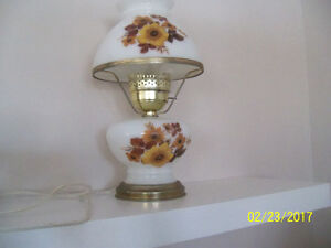 vintage table lamp with milk glass
