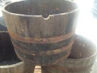 Half solid oak whisky barrels