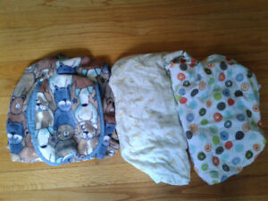 2 Pack n play sheets and Car Seat Cover