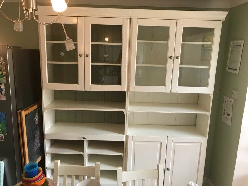 2 X Ikea Liatorp White Dining Room Living Cabinets Bookcases
