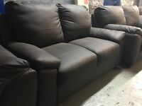 Brown leather 2 seater sofa two