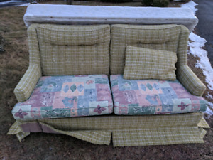 FREE vintage couch and twin size box spring. Curb pickup.