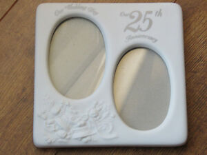 25th Anniversary porcelain double picture frame