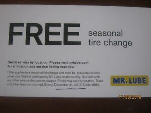 Seasonal Tire Change Coupon from Mr. Lube, $80 value for $40 Edmonton Edmonton Area image 1