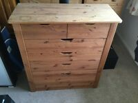 Solid wood Pine chest of draws
