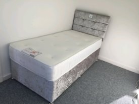 Single Divan beds with headboard and mattress