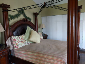 elegant king size bedroom set with two   side lamps and carpet