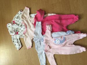 Girls preemie sleepers