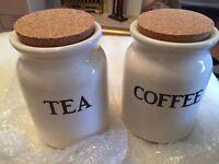 Cork Lid Storage Jars Tea & Coffee