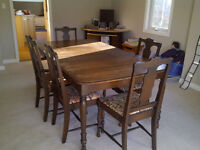 antique table set and other furniture