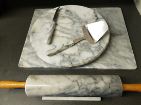 Marble set. Rolling pin and board, revolving cheese board and tools