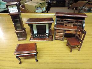 vintage miniature dark wooden dollhouse set