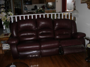 LEATHER SOFA RECLINER/INCLINER - NEARLY NEW