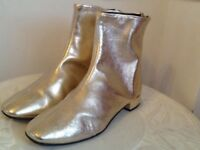 🔱🔆👑 New Gold leather Top Shop ankle boots size 39 UK 6