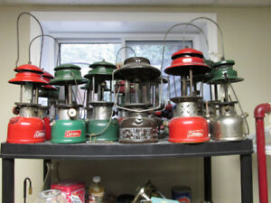 Coleman lantern collection and oil/kerosene lamp collection.