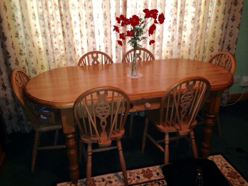 waxed pine farmhouse table 6 chairs in clanfield hampshire