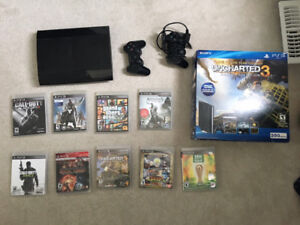 250GB PS3 w/ 2 Controllers, 10 Games, and Original Packaging!