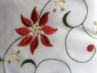 Poinsettia Christmas tablecloth and 8 napkins