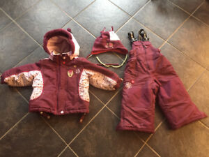 Girls size 24 month Gusti snowsuit with hat, mittens and scarf