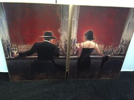 Two canvas prints of Brent Lynch painting Cigar Bar & Evening Lounge 1930s style scenes wall art