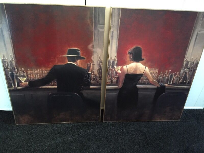 Two canvas prints of Brent Lynch painting Cigar Bar