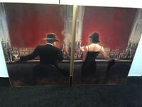 Two canvas prints Jack Vettriano inspired style bar scene wall art painting
