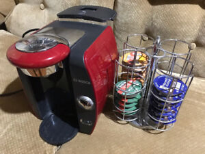 Red Bosch Tassimo Coffee Maker plus carousel
