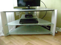 TV STAND w tempered glass shelves - $75