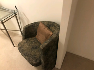 Two Small Lounge Chairs (With Pillows)