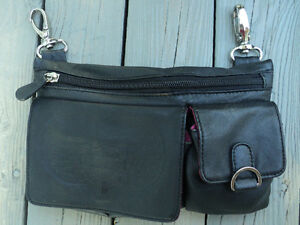 LADIES HD personal side bag BLACK with PINK lining