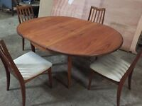 G Plan table & 4 Chairs - Solid Teak, all original 70's. VG condition