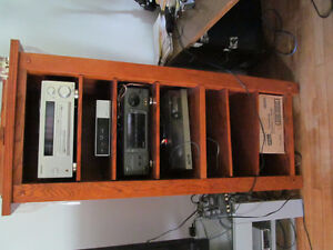 Solid Oak Stereo Stands With Shelving  (2)