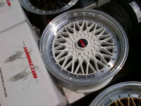 "Brand New 17""BBS RS white + polished lip reps (4x114/4x100)"