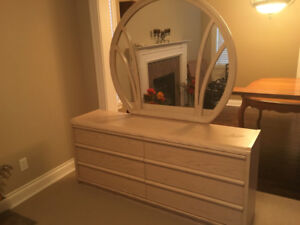 single bed room dresser with mirror and night stand