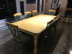 Maple 8' Dining Table, (8) Dining Chairs, (3) Bar Height Chairs