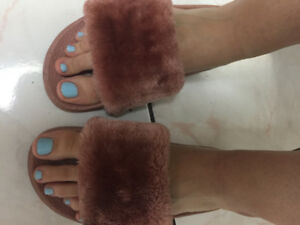 Used/Dirty Pink Fuzzy Slippers