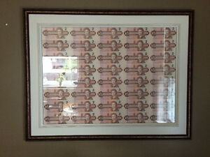 Framed Uncut sheet $2 Dollar Bill (Canadian) Currency