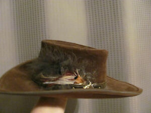Klondike hat, Bailey, brown suede with leather trim and feathers Kitchener / Waterloo Kitchener Area image 1