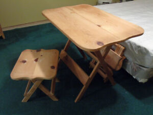 Folding Pine Table and stools