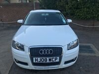 Audi A3 2008 In White, 12m MOT, F/A/S/H, Low Mileage, Just Been Serviced By Audi! 1.8 petrol!!