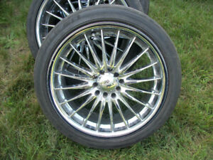 CHROME FAST WHEELS MAGS 17X7.5 BOLTS 5X100mm TIRES 215/45ZR/17""