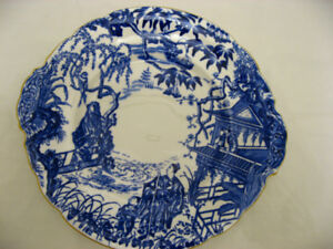 Royal Crown Derby Round Blue Mikado bone china plate w/ handles