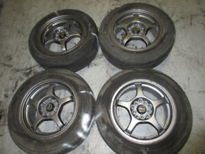 195-65-15 FIRESTONE TIRES + SCHNEDER MAG WHEEL 5X114.3
