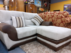 Gorgeous cream and Brown 2 seater sofa and footstool