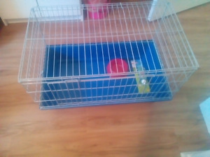 Small animal cage with water bottle and food dish