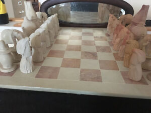 African Sandstone Hand Carved Chess Set