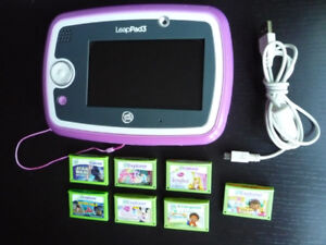 LeapFrog LeapPad 3 Learning Game System Tablet + 7 games lot
