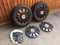 2 Vw transporter t5 steel alloy wheels +wheel trims