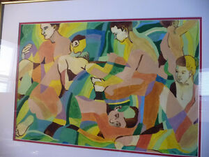 "Modern Abstract Figures, Listed Artist Joyce Kellock ""Six Girls"" Stratford Kitchener Area image 2"